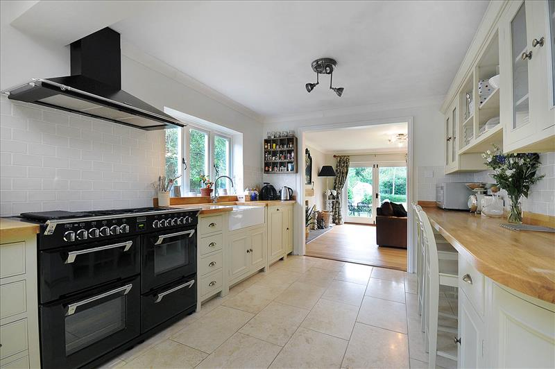3 Neptune Chichester kitchen with breakfast bar and Neptune Suffolk bar stools