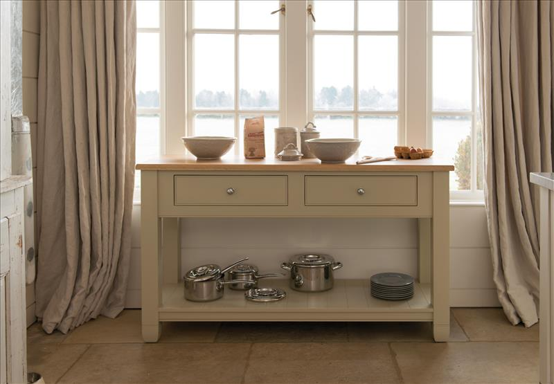 5 The Neptune Suffolk Potboard can be placed at the end of an island or on its own, with three drawers and a sheld for storing large pots